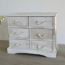 Petite legno shabby chic PORTAGIOIE 6 Cassetti Cabinet Unità petto bianco