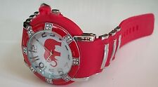 ELEGANT RED/SILVER FINISH WITH STONES  ELEPHANT SILICONE BAND WATCH