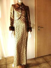 @ HAUTE COUTURE @ LUXUS Abendkleid + Jacke Handarbeit gold Brokat Gr 34/36 UK 10