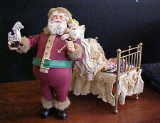 KSA Kurt Adler Clothtique Santa Ltd Ed Thos Nast Santa Lifting Child Brass Bed