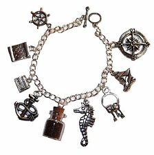 Disney's Pirates of The Caribbean Silvertone Metal Charm Bracelet