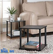 Small Side Table Set 2 Wood End Tables Storage Shelf Fits Canvas Cube Box Black