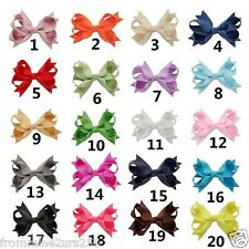 Lot of 20 Boutique Ribbon School Hair Bows w/Clips Baby Toddler Girls Kids