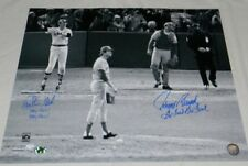 CARLTON FISK & JOHNNY BENCH SIGNED REDS RED SOX STAY FAIR GO FOUL HR 16x20 PHOTO