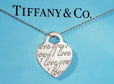 Tiffany & Co Sterling Silver I LOVE YOU Charm Pendant Necklace