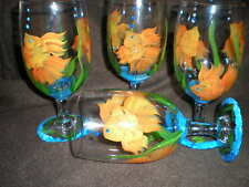 HAND PAINTED SWIMMING GOLDFISH ICE TEAS / SET OF 4(MADE IN THE USA)