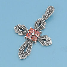 Cross with Marcasite & Garnet CZ Pendant Sterling Silver 925 Christian Jewelry