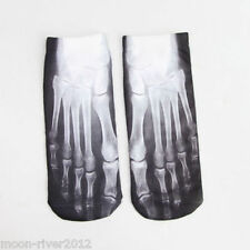 FOOT X-RAY Trainer SOCKS; UK Shoe 3-7 1 pair SKELETON 3D Digital Photo Sox UK GB