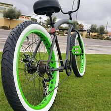 Fat Tire Beach Cruiser Bike- 26X3 Green 57mm Rims- 7 speed - Rear Disc SIKK