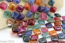"""Rare 18mm Square Faceted Multicolor Dragon Veins Agate Onyx Loose Beads 15"""""""