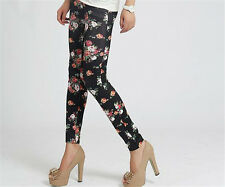 Hot New Women's Retro Rose Flower Print Tights Elasticity Thin New Style