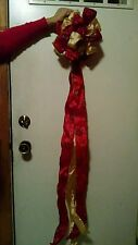 Christmas tree topper ribbon bow red and gold xmas holiday decoration decor