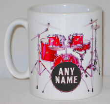 Drum Kit Mug Can PERSONALISE ANY NAME Music Drummer Coffee Tea Cup Musician Gift