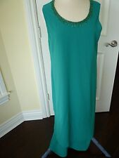 Coldwater Creek Dress Size 16 Green  with beaded neckline