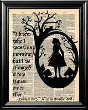 ALICE IN WONDERLAND WITH QUOTE UPCYCLED VINTAGE DICTIONARY PAGE ART PRINT