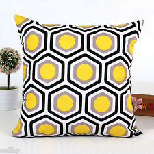 "Geometric Yellow Grey Black Modern Abstract Sofa Cushion Pillow Case 18"" HMO SA"