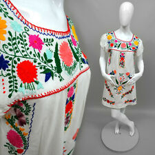 Vintage Mexiko Folklore Kleid Shirt Babydoll Tunika Boho Hippie Stickerei Goa 36