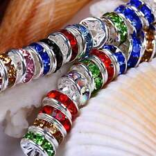 100pcs 8mm Mix Colour Rhinestone Crystal Round Rondelle Spacer Beads US SELLER