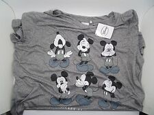 Primark Womens Girls Nightwear Charcoal Grey Mickey Mouse Pyjama Top UK Size 18