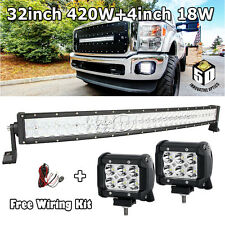 "5D 32""INCH 420W CREE LED WORK LIGHT BAR+4"" 18W OFFROAD UTV Polaris RZR Truck 30"""