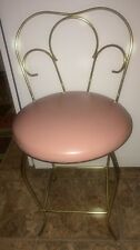 Vintage Hollywood Regency Scrolled Brass Metal Vanity Chair PINK