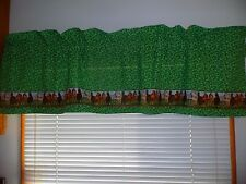 "HORSE VALANCE CURTAIN GREEN FLOWERED CAMPER HOME WINDOW TREATMENT 57"" x15.5 NEW"