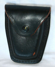 Leather Handcuff Pouch Black Snap Case