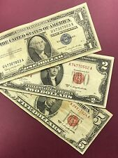 3 Note Paper Money Lot $5, $2, & $1 Red Seal Blue Seal
