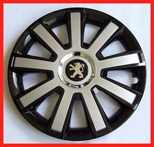 "15""  Wheel trims for Peugeot  Partner 206 207  308 307  208  4 x15"" black silver"