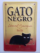 Gato Negro Black Cat Vintage Metal Sign/3D Embossed Steel Large, Best Quality