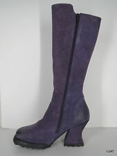 FLUEVOG 9 Purple Alto Nubuck Leather Zip Sexy Tall Knee High Boots Heels PUG VLV