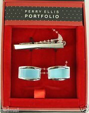 New Mens  Perry Ellis Portfolio Shirt Cufflinks and Necktie Tie Clip Set
