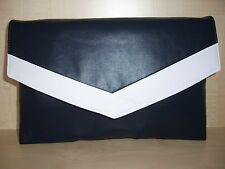 OVER SIZED NAVY BLUE & WHITE faux leather envelope clutch bag, fully lined BN,