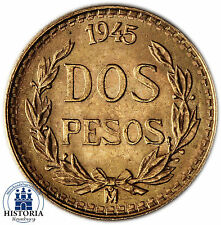 Mexiko 2 Pesos Gold 1945 bfr Goldmünze DOS PESOS MEXICO Münze in Münzkapsel