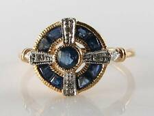 Lovely 9ct Oro Blu Zaffiro Diamante Anello Art Deco INS libero Ridimensiona