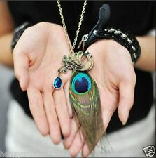 new peacock feather necklace retro sweater full chain necklaces+A