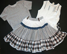 Jottum Euro boutique girl TILDE plaid skirt white tank top tee shirt 140 8 9 10