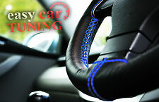 VW CADDY 2004- PRESENT BLACK GENUINE LEATHER STEERING WHEEL COVER BLUE ST NEW