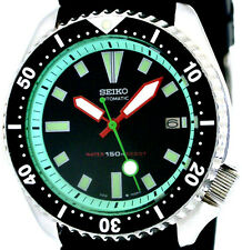 Vintage mens SEIKO diver 7002 mod w/RED Plongeur hands & MINT GREEN Chapter Ring
