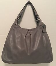 Coach Madison LARGE Gray Leather Maggie Shoulder Bag 13897 EUC