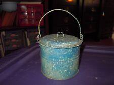 """Vintage Tin Lunch Pail  4"""" t x 4.5"""" w  Primitive  w/ Lid & Handle"""