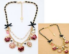 N582 BETSEY JOHNSON Hearts w/ Arrow Pearl Ribbon Gem Flower Necklace US