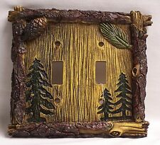 Pine Tree Double Light Switch Plate/Cover Rustic Home & Cabin Decor (NAT)