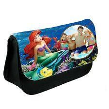 Personalised Photo Disney Princess Ariel Black Canvas Pencil Case Or Make-Up Bag