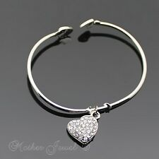LOVELY SILVER PLATE CRYSTAL HEART DANGLE CUFF BANGLE BRACELET (NEW WITH DEFECTS)