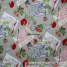 BonEful Fabric FQ Cotton Quilt Gray Red Green B&W S Kitchen Garden Tomato Veggie