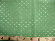 1/2 yd Cotton Fabric Green with Off White Tri-Petals