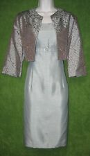 Jessica Howard Blue Brown Satin Shantung Empire 2pc Jacket & Dress 10 $99