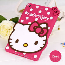 Cute Rose HelloKitty Cat Silicone Soft Back Case Cover for iPad Mini 1&2&3