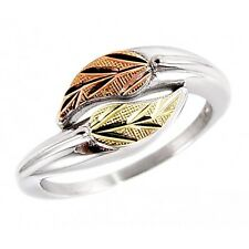 Black Hills Gold Ring Sterling Silver and 12K Gold Ring Size 8